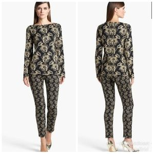 2pc St. John Shimmer Lily Jacquard Tunic & Pants